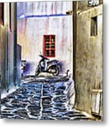 Scooter Mykonos Greece Metal Print