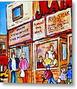 Scooting By The Main Steakhouse Authentic Montreal Paintings Prints Originals Commissions C Spandau Metal Print