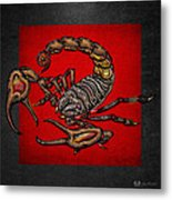 Scorpion On Red And Black Leather Metal Print
