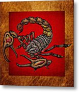 Scorpion On Red And Brown Leather Metal Print