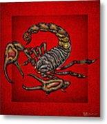 Scorpion On Red Metal Print