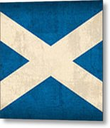 Scotland Flag Vintage Distressed Finish Metal Print by Design Turnpike