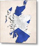 Scotland Map Art With Flag Design Metal Print