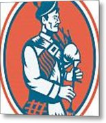 Scotsman Scottish Bagpipes Retro Metal Print