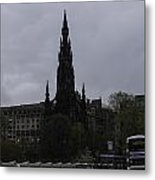 Scott Monument Next To Waverley Train Station And With Sightseeing Buses Metal Print