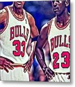 Scottie And Michael Metal Print by Florian Rodarte