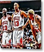 Scottie Pippen With Michael Jordan And Dennis Rodman Metal Print by Florian Rodarte