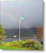 Scottish Flag With A Rainbow Metal Print