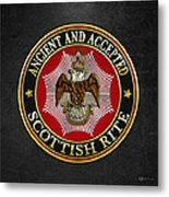 Scottish Rite Double-headed Eagle On Black Leather Metal Print