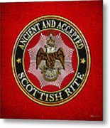 Scottish Rite Double-headed Eagle On Red Leather Metal Print