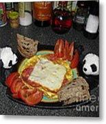 Scrambled Eggs Salami And Cheese For Breakfast. Travelling Baby Pandas Series. Metal Print