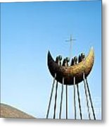 Sculpture Called To The Skellig By Eamon Doherty At Cahirciveen County Kerry Ireland Christian Monks Metal Print