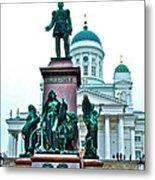 Sculpture Of Alexander II In Cathedral Of Helsinki-finland Metal Print