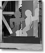Sculpture On State Street In Black And White  Metal Print