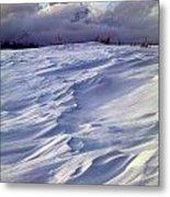 1m9347-sculptured Snow And Grand Teton Metal Print