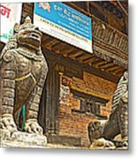 Sculptures Of Protector Figures In Front Of Sufata Buddhist College In Patan Durbar Square Metal Print