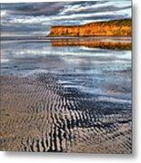 Sea Coal Saltburn Sunset Metal Print
