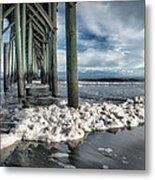Sea Foam And Pier Metal Print