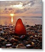 Sea Glass Sunrise And Shells 9 10/18 Metal Print