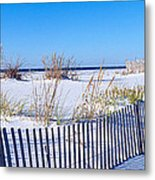 Sea Oats And Fence Along White Sand Metal Print