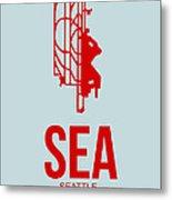Sea Seattle Airport Poster 1 Metal Print by Naxart Studio
