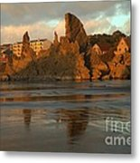 Sea Stacks And The City Metal Print