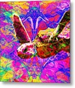 Sea Turtle In Abstract V3 Metal Print