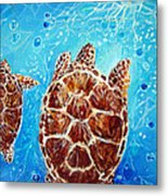 Sea Turtles Swimming Towards The Light Together Metal Print