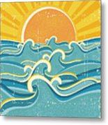 Sea Waves And Yellow Sun On Old Paper Metal Print