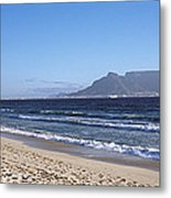 Sea With Table Mountain Metal Print