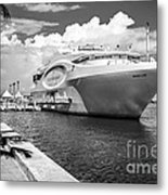 Seafair Art Venue Yacht Moored In Miami - Black And White Metal Print by Ian Monk