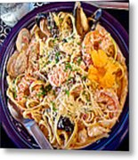 Seafood Fetticinni Alfredo At Cafe Cups Restaurant In Homer-ak   Metal Print