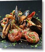 Seafood Pasta Metal Print