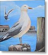 Seagull On Piling Metal Print