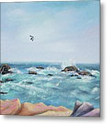 Seagull Over The Ocean Metal Print
