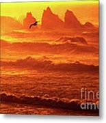 Seagull Soaring Over The Surf At Sunset Oregon Coast Metal Print