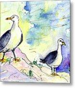 Seagulls In Calpe In Spain Metal Print