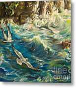 Seagulls Over The Rough Sea Metal Print