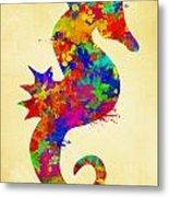 Seahorse Watercolor Art Metal Print