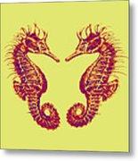 Seahorses In Love Metal Print