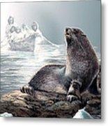 Harp Seal And Native Hunters Metal Print