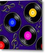 Seamless Music Pattern With Vinyl Metal Print