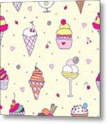 Seamless Pattern Delicious Ice Cream Metal Print