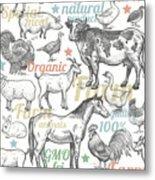 Seamless Pattern With Livestock Metal Print