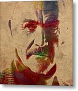 Sean Connery Actor Watercolor Portrait On Worn Distressed Canvas Metal Print