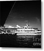 Seaplane Passing Ferry And Dock At Fort Jefferson Dry Tortugas National Park Florida Keys Usa Metal Print