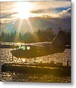 Seaplane Sunset Metal Print