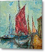 Seaport Painting Metal Print by Russell Shively