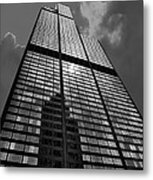 Sears Willis Tower Black And White 02 Metal Print