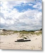 Seaside Driftwood And Dunes Metal Print